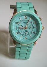 Designer Style Chunky Oversized Gold Mint Green  Geneva Bracelet Fashion Watch