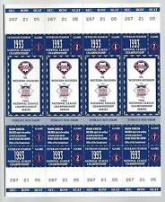 1993 NLCS ATLANTA BRAVES @ PHILADELPHIA PHILLIES FULL UNUSED TICKETS SHEET MINT