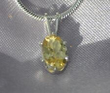 7MMX5 MM--HANDCRAFTED  OVAL LEMON CITRINE PENDANT .925 STERLING SILVER- .75 CTW