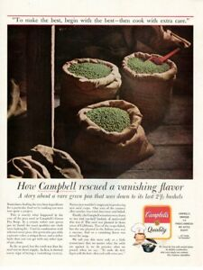 Vintage advertising print CAMPBELL'S soup Story of a rare Green Pea rescued 1964