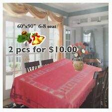 """**Clearance 2pcs For $10.00** XMAS TABLE CLOTH 60x90"""" 6-8 SEAT RECTANGLE"""