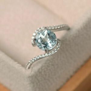 Round 1.65 Ct Real Diamond Aquamarine Engagement Rings 14K White Gold Size M N O