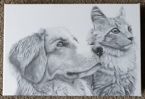 Canvas Print Of Original Drawing - Study Of Dog And Cat