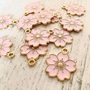 Pack 5 Pink Enamel Light Gold Sakura Japanese Flower Tibetan Charms Pendants