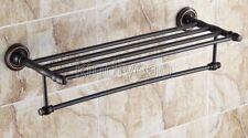Black Oil Rubbed Bronze Wall Mounted Bathroom Towel Rail Bar Rack Shelf Kba210