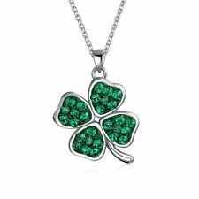 Celtic Leaf Clover Green Shamrock Dangle Pendant Charm Necklace Sterling Silver