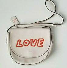 NEW Coach Keith Haring Chalk White Leather LOVE Crossbody Bag Limited  $395