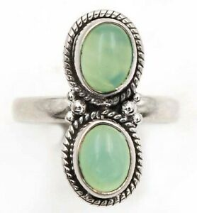 Two Tone- Aventurine 925 Sterling Silver Ring Jewelry, Sz 8, ED25-5