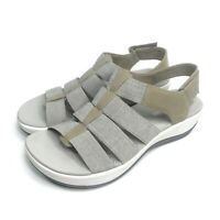 Clarks Cloud Streppers Women's Slingback Arla Shaylie Sandals Gray/Beige 8 M