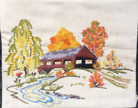 Vintage Crewel Fall Covered Bridge 11x14 On Board Ready To Frame / Pillow Autumn