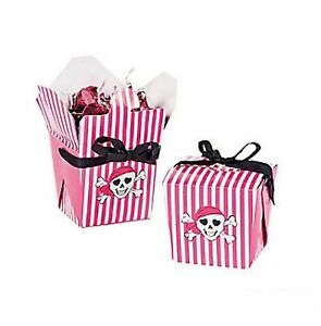 (12) Pirates Pink Girls Girl Empty Treat Favour Loot Box Pirate Party