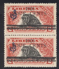 """Liberia 1920, 4c on 2c civet official, PAIR, one with """"I"""" for """"1"""" #O112 animal"""