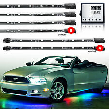 Million Color 12pc tubes LED Under Body Interior Glow Lighting 129 Mode Remote