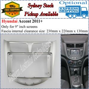 For 9 Nine Inch Screen Fascia Fits Hyundai Accent 2011 - 2015 Silver Dash Kit*