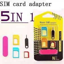 5 IN 1 New Nano SIM Card to Micro Standard Adapter Converter For iPhone Samsung