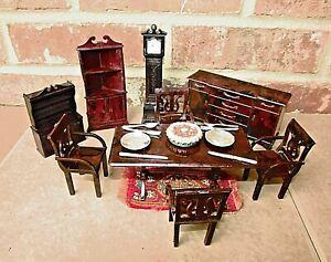Plasco GRANDFATHER CLOCK Vintage Dollhouse Furniture Hutch 4 Chairs Table USA