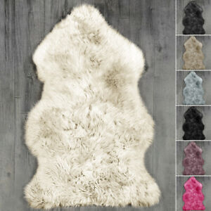 Fluffy Faux Fur Mat Sheepskin Rug Large Bedroom Floor Carpets Plain Hairy Mats