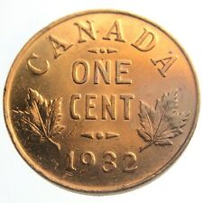 1932 Canada One 1 Cent Penny Copper Canadian Whizzed George V Coin P441