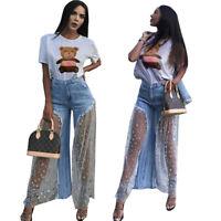 Women Fashion Perspective Star Mesh Patchwork Long Denim Wide Leg Pants Casual