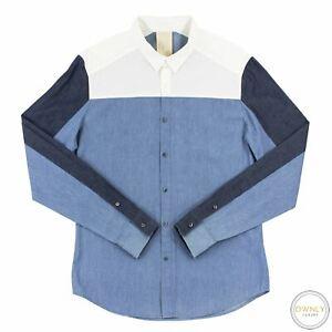 Wooyoungmi White Blue Chambray Poplin Block Striped Dress Shirt M
