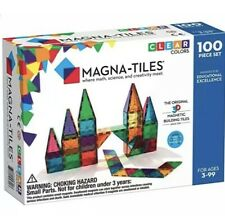 Magna Tiles 100pc Clear Color 3D Magnetic Building Tiles Valtech New in Box