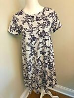 LuLaRoe Carly Dress Grey with Dark Purple (almost black) Floral Size XS X Small