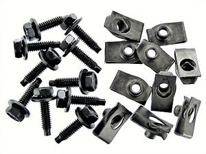 "Mopar Body Bolts & U-nut Clips- 1/4-20 x 1"" Long- 7/16"" Hex- 20 pcs (10ea)- #388"