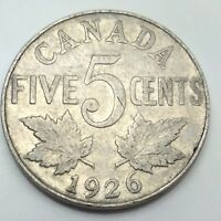 1926 Near Six Canada Large 5 Five Cents Nickel Circulated Canadian Coin D439