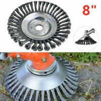 "8"" Steel Wire Wheel Brush Grass Trimmer Head Weed Cleaning Tools For Garden"