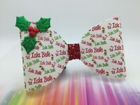 """Christmas Personalised Bow Any Name Large Red Glitter Hair Bow 4"""" Santa Elf"""