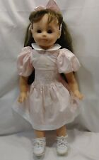 """19"""" Gotz DollBrown Long Hair Brown Eyes Open Close Pink Dress Shoes 120/15 (S)"""