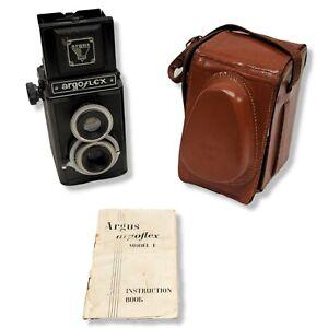 Argus Argoflex Model E TLR Camera w/ Leather Case & Manual 1947
