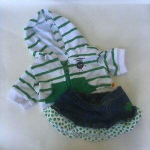 Build A Bear Girl Scouts Thin Mint Cookie Hoodie Denim Skirt Outfit Green Stripe