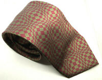 """Men's Tie ABSTRACT ILLUSION Red Green Cafe Cotton 100% Silk 3.75"""" Width 59"""" Long"""