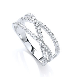 Sterling Silver Band Ring Criss Cross Twist Clear Cubic Zirconia Crystals J JAZ
