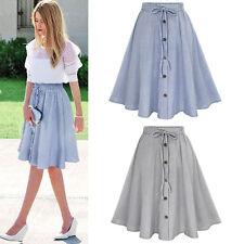 Women's Vintage Stretch High Waist Plain Skater Flared Pleated Long Skirt Dress