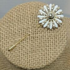 "Vintage Gold Tone White Daisy Flower Decorative Stick Pin 2.25"" Lovely"