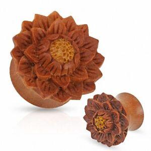 Ear Plug Wood Saba Wood Flower Lotus