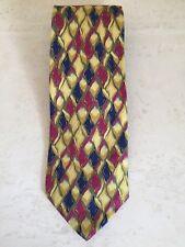 Paul Stuart New York 100 % Silk Men's Neck Tie Gold Blue geometric design