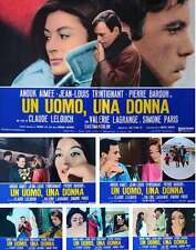 A MAN AND A WOMAN UN HOMME & UNE FEMME Italian fotobusta movie poster x6 LELOUCH