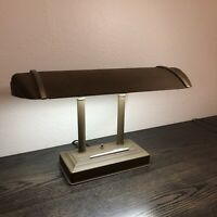 Vintage Art Deco Desk / Piano Lamp 2 Bulb Fluorescent Mid Century Design Decor