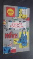 Postal Depliante Shell Lijado 1962 España Portugal Muy Buen Estado