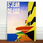 """Vintage Travel Poster Art ~ CANVAS PRINT 36x24"""" ~ St Jean De Luz France"""
