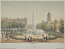 C1850 Lyon Place Bellecour Fontaine Tinted lithographe BY BECQUET