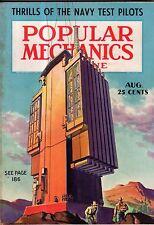 1937 Popular Mechanics August - Cabin Cruisers; Delaware Aquaduct; Navy Pilots