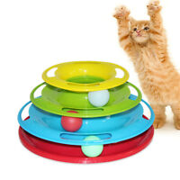 Pet Cat Crazy Ball Disk Interactive Toys Amusement Plate Trilaminar Funny UU _Q