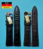 echt Louisiana Kroko Uhrenarmband 20/16mm schwarz braun Made in Germany