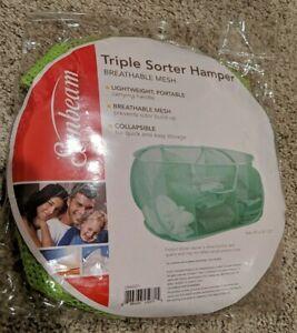 "Sunbeam Pop-Open Triple Sorter Hamper Breathable Mesh GREEN 23"" x 14"" x 13"""