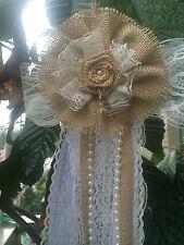 12pcs Vintage Burlap Lace Bows Pew Chair bow Pew Bows Rustic burlap Wedding Dec