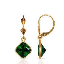 Bezel Square Emerald Birthstone Drop Dangle Leverback Earrings 14K Yellow Gold